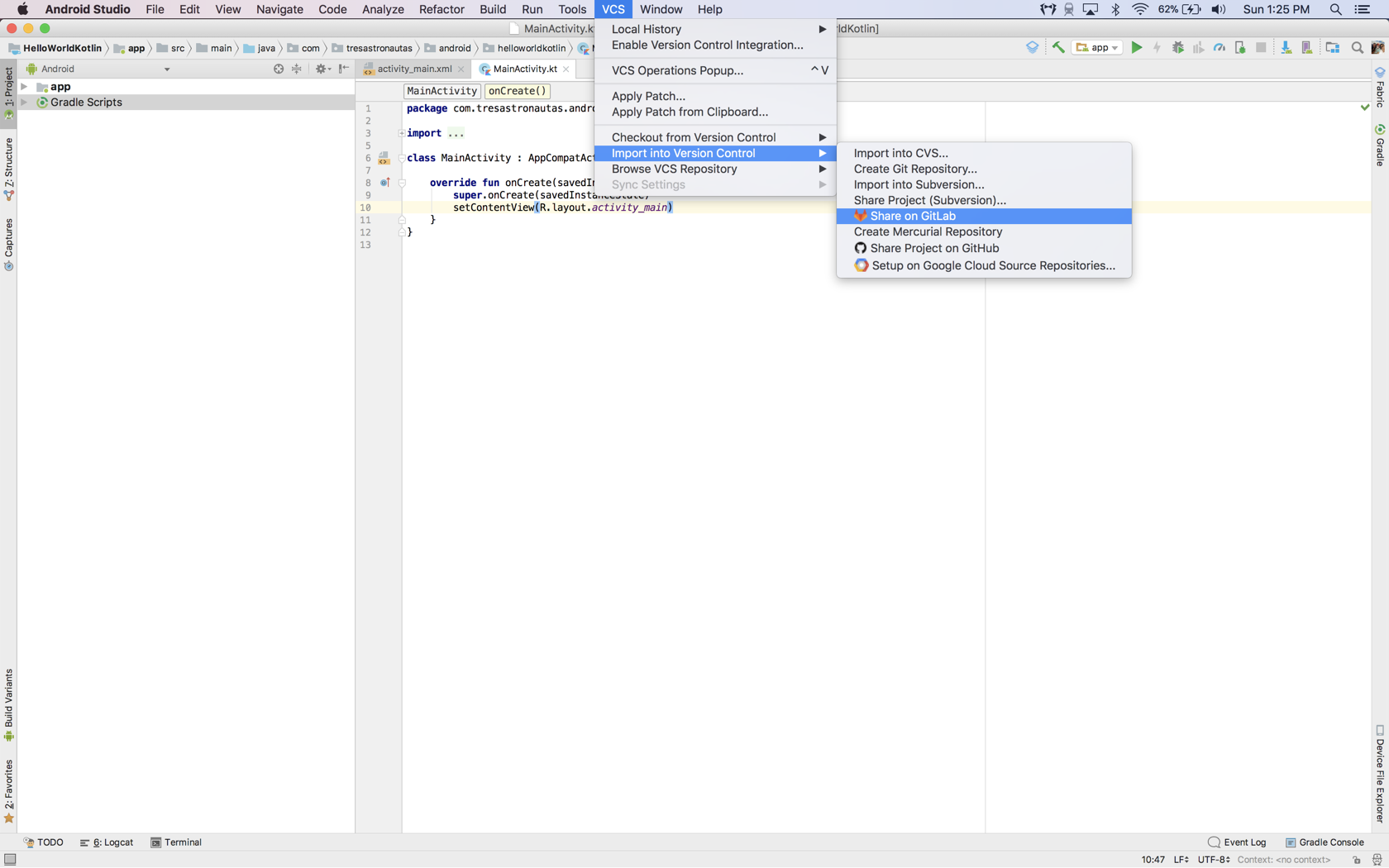 Lesson 1 - Creating and managing a project in Android Studio